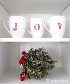 Christmas home tour - Personalize some plain white mugs with paint and stencils for the Holidays!  I have three small white plates I want to do this with next year.