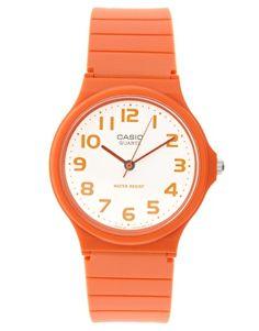 Casio Round Dial Orange Strap Watch