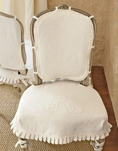Pleated chair slipcover with monogram - Country Living
