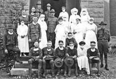 History in Photos: Louis Edward Nollau. Nurses, Captain Royden, and medical officers; nurses in  Gymnasium Hospital During influenza epidemic, 1918