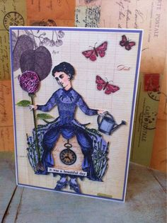 Beautiful Day Card by Barbara Smith working with The Timekeeper's Garden art stamps, new from Character Constructions!