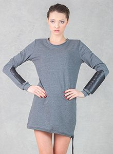 Dress with Armlets Grey