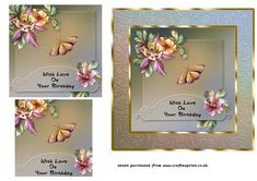 Flowers Butterfly Pyramid Card on Craftsuprint - Add To Basket!