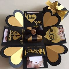 icu ~ Buy Explosion Box With Gift Box & 4 Personalized Photos In Black & Gold in Singapore,Singapore. Diy Gifts For Boyfriend, Birthday Gifts For Boyfriend, Exploding Gift Box, Exploding Box For Boyfriend, Birthday Explosion Box, Surprise Gifts For Him, Surprise Box, Express Gifts, Scrapbook Box
