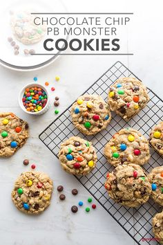 These crowd-pleasing Chocolate Chip PB Monster Cookies are big, soft and chewy cookies chock full of yummy extras. Colorful M&M's, chocolate chips, and salty peanuts are packed into delicious peanut butter oat cookies. Perfect for snacking and lunchboxes, make a batch of these Chocolate Chip PB Monster Cookies for a sweet treat.
