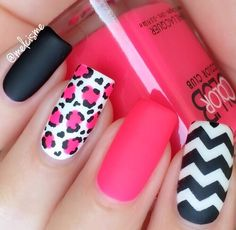 Sizzling hot mani by @melcisme! Melissa is using our Chevron Nail Vinyls found at: snailvinyls.com