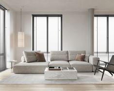 living room Minimalist Sofa, Minimalist House Design, Minimalist Home Interior, Minimalist Home Furniture, Modern Minimalist Living Room, Minimalist Kitchen, Apartment Interior, Living Room Interior, Home Room Design