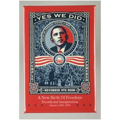 "This Shepard Fairey rare "" Yes We Did "" 2008 Obama election lithograph print collector's poster is an incredibly special and unique piece to add to. Barack Obama, Presidential Election, Shepard Fairey Art, Obama Campaign, Gadsden Flag, First Black President, Today In History, Poster Prints"
