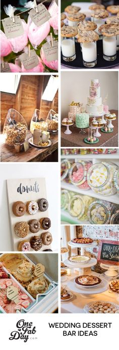 From sushi and tacos to candy and donuts, these 13 delicious and colourful wedding food stations will put a smile on the faces of your guests! Dessert Party, Dessert Bar Wedding, Wedding Donuts, Rustic Wedding Favors, Party Desserts, Wedding Desserts, Dessert Tables, Wedding Table, Wedding Cakes