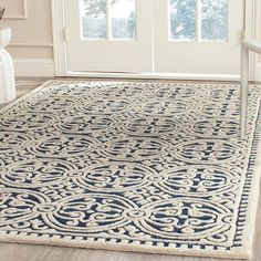 House of Hampton Fairburn Hand-Tufted Wool Navy Area Rug Rug Size: Rectangle x Blue Ivory, Blue And White, Navy Blue, White Rug, Cambridge, Farmhouse Area Rugs, Modern Farmhouse, Carpet Cleaning Machines, Diy Carpet Cleaner