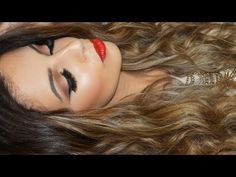 Classic Red Lips Neutral Eyes Makeup Tutorial + Hair Tutorial, Hi love bugs I hop you enjoyed this classic makeup tutorial. The hair tutorial was highly requ. Prom Makeup Tutorial, Smokey Eye Makeup Tutorial, Neutral Eye Makeup, Neutral Eyes, Laura Lee Makeup, Bronze Smokey Eye, Makeup For Blondes, Red Lips, Long Hair Styles
