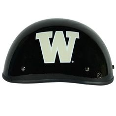 Motorcycle Helmet - University of Washington Huskies - Half Shell DOT approved Limited Edition Merchandise - Officially Licensed Collegiate Custom Logo Helmets - College Biker Riding Gear - One of a kind product - Ride with UW Husky Pride by FanRider - Extra Large - Black. Gloss finish with licensed collegiate logos. Advanced lightweight durable shell and fully vented through-out shell. Easy detachable front for easy access.