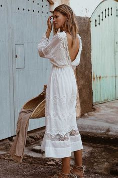 High neck, deep v back midi dress with detailed embroidery throughout, lace panels and ruffles, elastic waist and sleeves*can be worn both ways to feature the deep v at the frontMade from cotton and laceColour - white Long White Dress Boho, Boho Summer Dresses, White Midi Dress, White Dress Summer, Black Girl Fashion, 70s Fashion, Fashion 2020, Fashion Dresses, Fashion Tips