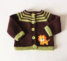 Lion sweater knit baby sweater brown baby jacket merino baby cardigan MADE TO ORDER, Knitted Baby Cardigan, Knit Baby Sweaters, Knitted Baby Clothes, Casual Sweaters, Baby Boy Knitting, Baby Knitting Patterns, Crochet Baby Dress Pattern, Baby Mittens, Baby Suit