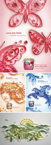 Alpina Yogurt, 3D Quilling American Advertising Campaign, Commissioned by, Vitro | by jiteshpatel