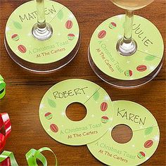 Personalized Holiday Wine Tags by PersonalizationMall.com. $9.95. Make your Christmas toast even more memorable this year when your guests clink their glasses and see our Cheers To The Holiday Wine Tags you personalized just for them. Your guests will be able to eat, drink and be merry without worrying about misplacing their drink when you hand them their own personalized wine tag! Not only will these tags keep the glasses separate, but they will also act as an ice breaker an...