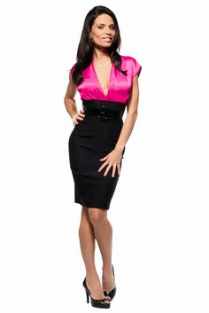 Sexy Fitted Career Outfit Satin Blouse Pencil Knee Length Dress With Belt