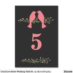 Coral Love Birds Wedding Table Number Table Cards
