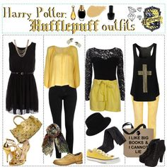 """Harry Potter: Hufflepuff Outfits"" by roseygal-16 on Polyvore. The two in the middle are my favorite"