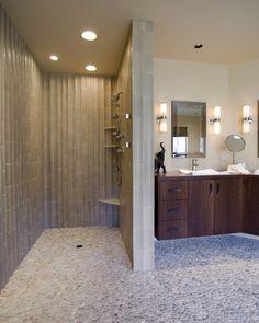 Walk In Shower Design - galvanized shower walls