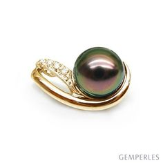 Pendentif perle de Tahiti noire - 8.5/9mm - GEMME