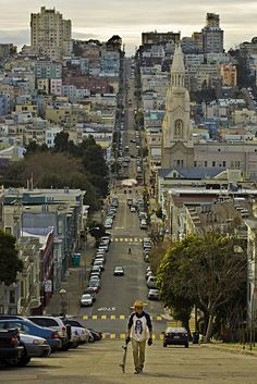 View looking down Filbert Street in North Beach section of San Francisco
