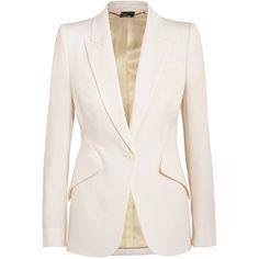 Alexander McQueen Wool-piqué blazer found on Polyvore featuring outerwear, jackets, blazers, blazer, white, wool jacket, alexander mcqueen, white wool blazer, wool peplum jacket and tailored jacket