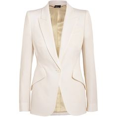 Alexander McQueen Wool-piqué blazer (4.550 BRL) ❤ liked on Polyvore featuring outerwear, jackets, blazers, alexander mcqueen, tops, peplum jacket, white wool jacket, pique blazer, peaked lapel blazer and white jacket