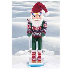 "Indoor Christmas Holiday 24"" Skiing Santa Nutcracker Wooden Decor or Collectors"