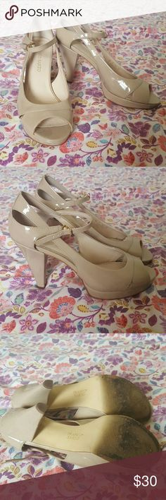 Franco Sarto cream peeptoe heels size 9 Franco Sarto patent leather heels in versatile cream color. Featuring cut-outs and a peeptoe to keep your feet cool and show off your pedi! Great condition, worn once to a wedding. Franco Sarto Shoes Heels