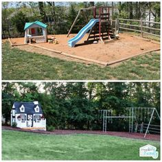 before and after yard kid friendly back yard