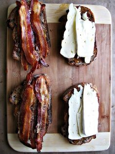 Hmmm not sure of exact ingredients. Bacon of course. Think it would work really well with toasted sesame Ezekiel bread with olive oil and sliced manouri cheese