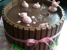 Redneck Piggy Pool or PIggie Hot Tub Cake.  See my separate pin for piggies from fondant.  Found on various FB posts. Twix or Kit Kat bars usable.  Some say choc frosting, some say choc ganache, plus chocolate pudding might be usable.