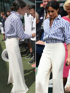 Meghan Markle goes nautical in striped shirt alongside Kate Middleton at Wimbledon - Outfit Ideen Estilo Meghan Markle, Meghan Markle Style, Work Fashion, Fashion Looks, Classy Outfits, Casual Outfits, Mode Outfits, Fashion Outfits, Dress Fashion