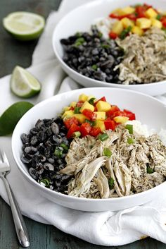 Caribbean Jerk Chicken, Bean and Rice Bowls | girlversusdough.com @girlversusdough #chicken #dinner #healthy #recipe