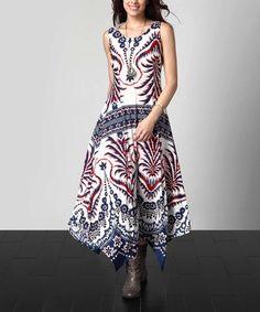 Another great find on #zulily! Blue & Orange Floral Sleeveless Handkerchief Maxi Dress #zulilyfinds