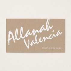 Photographers Name Typography Business Cards