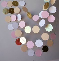 Bridal shower decor Bridal shower decorations Gold pink white and beige paper garland Baby shower decorations Wedding paper garland by TransparentEsDecor