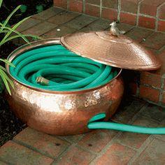 Copper Garden Hose Hider
