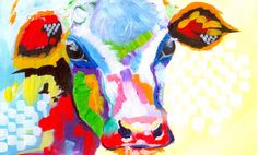 Colorful Cow Painting | Acrylic Tutorial | Beginner Abstract lesson Full Painting https://www.pinterest.com/pin/456552480955346944/ Reference Photo \ PMP : B...
