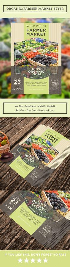 Organic/Farmer Market Flyer  -  PSD Template • Only available here! ➝ https://graphicriver.net/item/organicfarmer-market-flyer/17202709?ref=pxcr