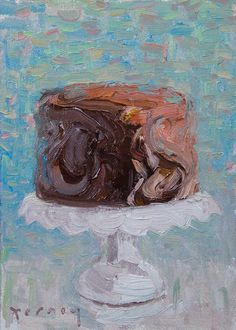 """""""Whipped Chocolate"""" Cake ~ Oil Painting by Paul Ferney. Love the background colors in this piece. Food Art Painting, Cake Painting, Painting Videos, Canvas Art Projects, Love Art, Painting Inspiration, Amazing Art, Art Drawings, Illustration Art"""