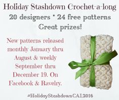 Announcing the Holiday Stashdown crochet-a-long 2016! I'm excited to announce that we'll be continuing the Holiday Stashdown CAL for 2016! And I've teamed up with 19 other crochet designers to share 24 free crochet patterns for holiday gift and decoration projects with you!
