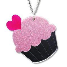 #AdoreWe #YesStyle Sweet & Co. XL Glitter Pink Cupcake Mirror Long Necklace - AdoreWe.com