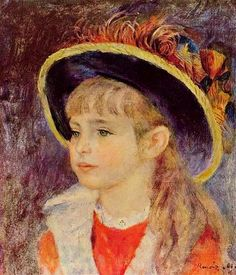 Young Girl in a Blue Hat, 1881 ~ Pierre-Auguste Renoir ~ (French: 1841-1919)