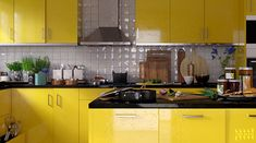 Yellow kitchen which propped by herb plants and someone is cooking on the counter top. Soup is boiling on the stove, onion on the cutting board. a bit dirty yellow kitchen. Minimal Design, Modern Design, Herb Plants, Kitchen Modern, Counter Top, Simple Elegance, Cooking Time, Stove, Onion