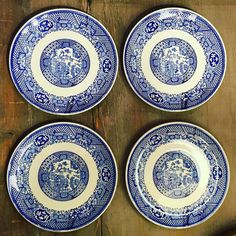 """#1 Set of four Blue Willow bread plates. 6"""". $18.00 shipped…"""