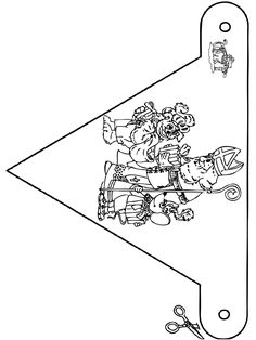 Vlaggetje Sint 2 Christmas Cards Drawing, Coloring Pages, December, Seasons, Drawings, Origami, Crafts, Club, School