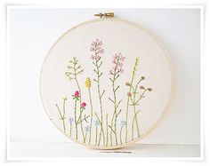 Japanese Wild Flower Garden Hand Embroidery in hoop wall art