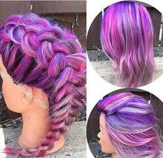 purple braided dyed hair color @hairbyshannablair